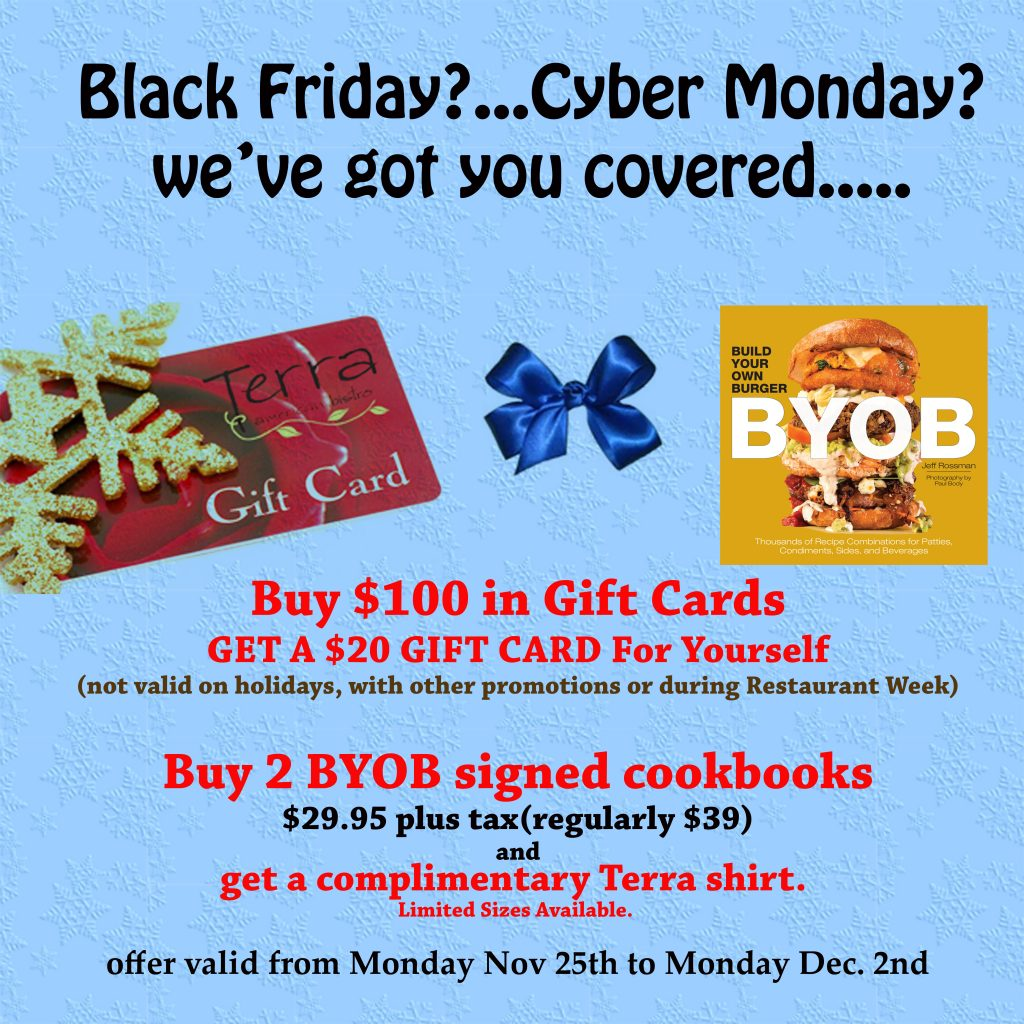 Ad for Holiday Promotions Buy $100 gift card, get $20 extra for you.  Buy 2 Build your own Burger books, get a t-shirt.